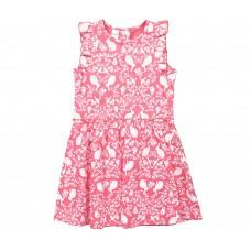 Платье для девочки розовое с белыми узорами