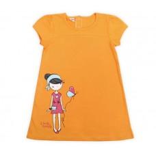 Платье для девочки оранжевое со стразами