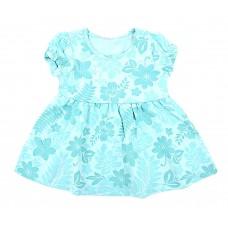 Платье мятное с цветочным принтом