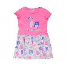 Платье для девочки розовое с серым