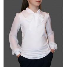 Блузка трикотажная c воротником-бантом