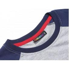 Джемпер трикотажный серый с синими рукавами