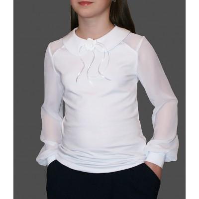 Блузка трикотажная c шифоновыми рукавами