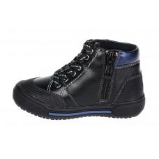 Ботинки черные с синим байка (22-27)