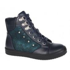 Ботинки темно-синие с зеленой вставкой-байка (32-37)