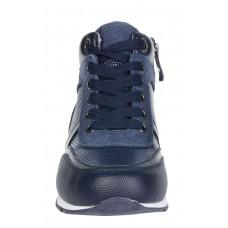 Ботинки синие на шнуровке байка (31-36)