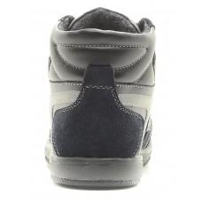 Ботинки черные с синим байка (31-36)