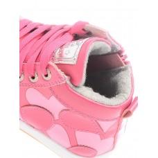 Ботинки розовые сердечки-байка (25-30)