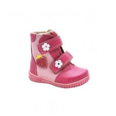 Ботинки розовые с клубничкой (23-27)