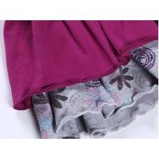 Малиновое трикотажное платье с длинным рукавом