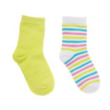 Носки детские (2шт) желтые и белые в разноцветную полоску