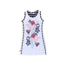 Платье-майка белое в синюю полоску с цветами