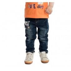 Брюки джинсовые черно-синие с собачкой