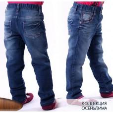 Брюки джинсовые на флисе с красной строчкой