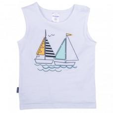 Майка для мальчика белая с корабликами