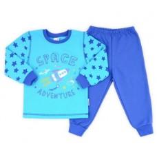 Пижама для мальчика космос светлая бирюза + синий шторм
