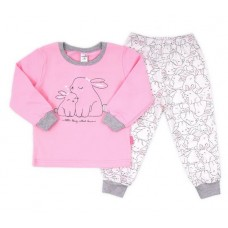 Пижама с принтом розовые зайчики