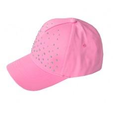 Кепка для девочки розовая с клепками