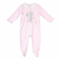Комбинезон для малышки розовый полосатый с мишкой