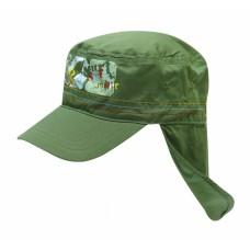 Кепка для мальчика зеленая с защитой шеи