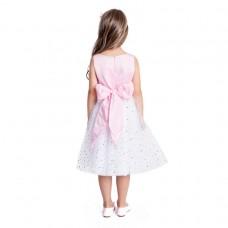 Платье нарядное розово-белое с бантиком
