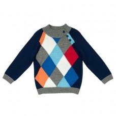 Джемпер из вязаного трикотажа с цветными ромбиками