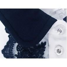 Блузка трикотажная с синим воротничком и кружевом