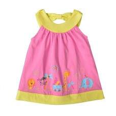 Платье для девочки розовое с желтым