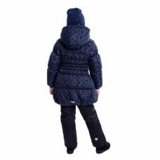 Пальто синее с флоковым принтом в горошек
