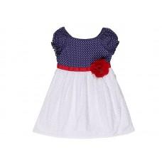 Платье для девочки бело синее в горошек