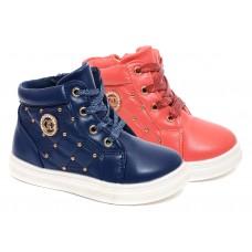 Ботинки для девочек синий/коралл (27-32)