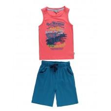 Комплект майка, шорты коралл+бирюза