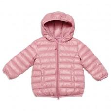 Стеганая куртка нежно-розового цвета с капюшоном
