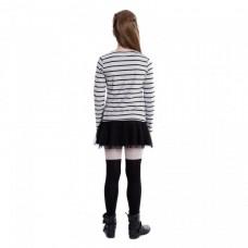 Платье белое в полоску с черной юбочкой