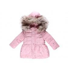 Куртка нежно-розовая с меховой опушкой