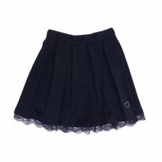 Юбка для девочки синяя отделка кружево