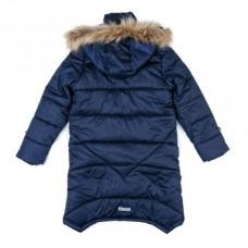 Пальто темно-синее с капюшоном