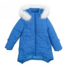 Пальто голубое с меховым капюшоном