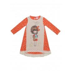 Платье оранжевое горошек